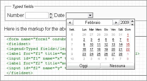Selezione della data su un form in HTML5