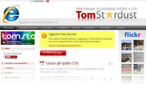 TomStardust.com: versione per Explorer 6